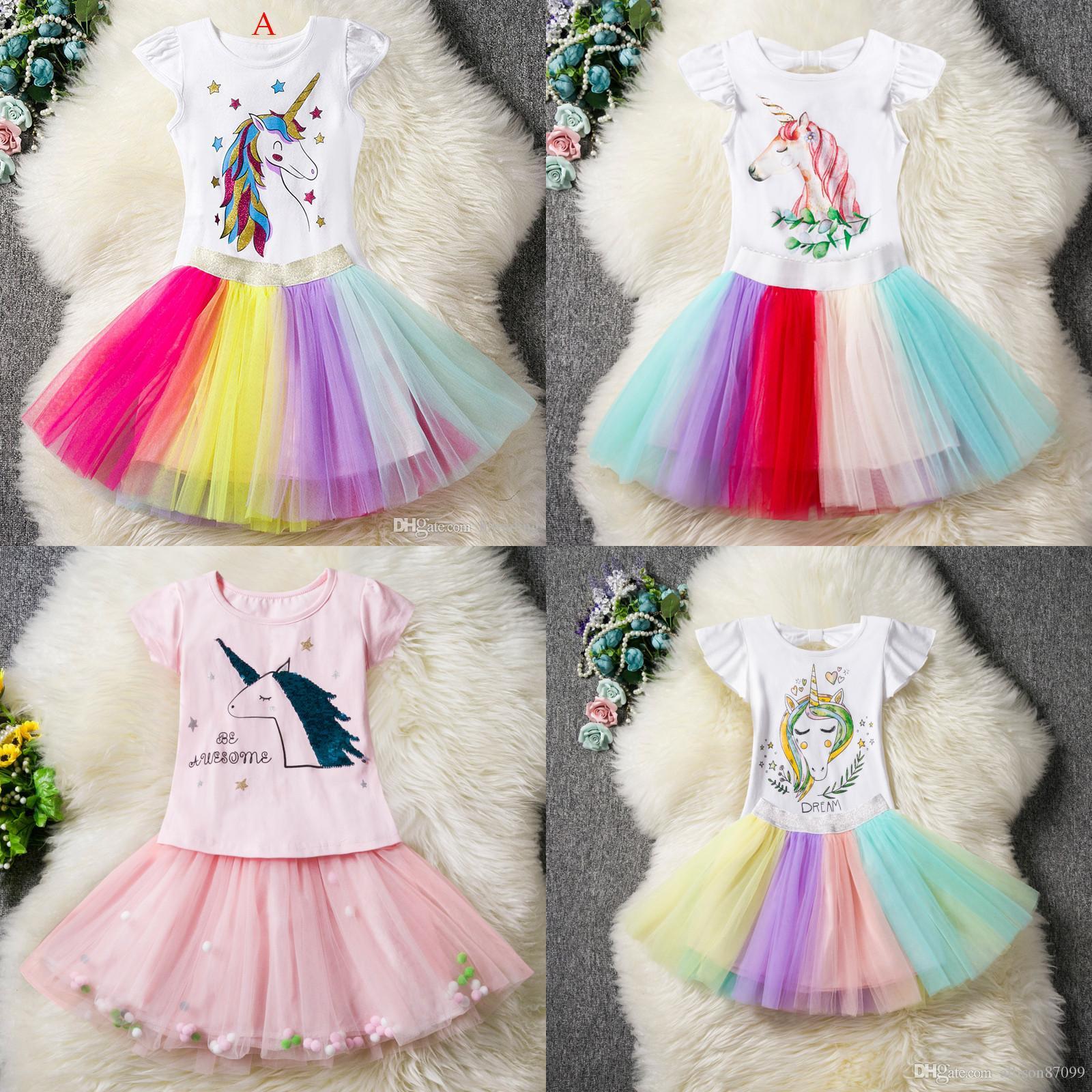 Ins Bebek kız Unicorn Kıyafetler Elbise Pamuk çocuk üst Ruffles kol + TuTu gökkuşağı etekler 2 adet Karikatür 2019 Moda Çocuk Giyim Setleri