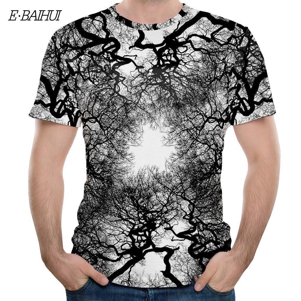 E-BAIHUI 3D филиал печати футболка мужчины смешные с коротким рукавом уличная хип-хоп 2019 топы тройники повседневные мужские футболки 465