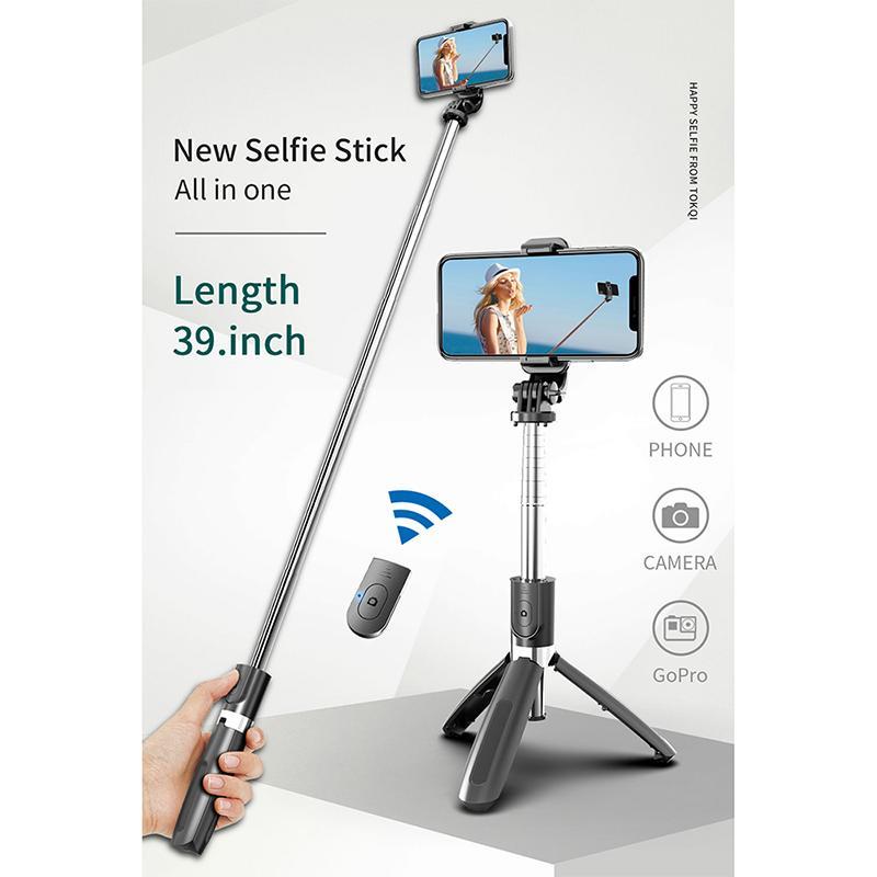 3 في 1 مصغرة selfie monopod ترايبود المحمولة اللاسلكية بلوتوث عصا selfie مع التحكم عن بعد طوي العالمي للهاتف الذكي