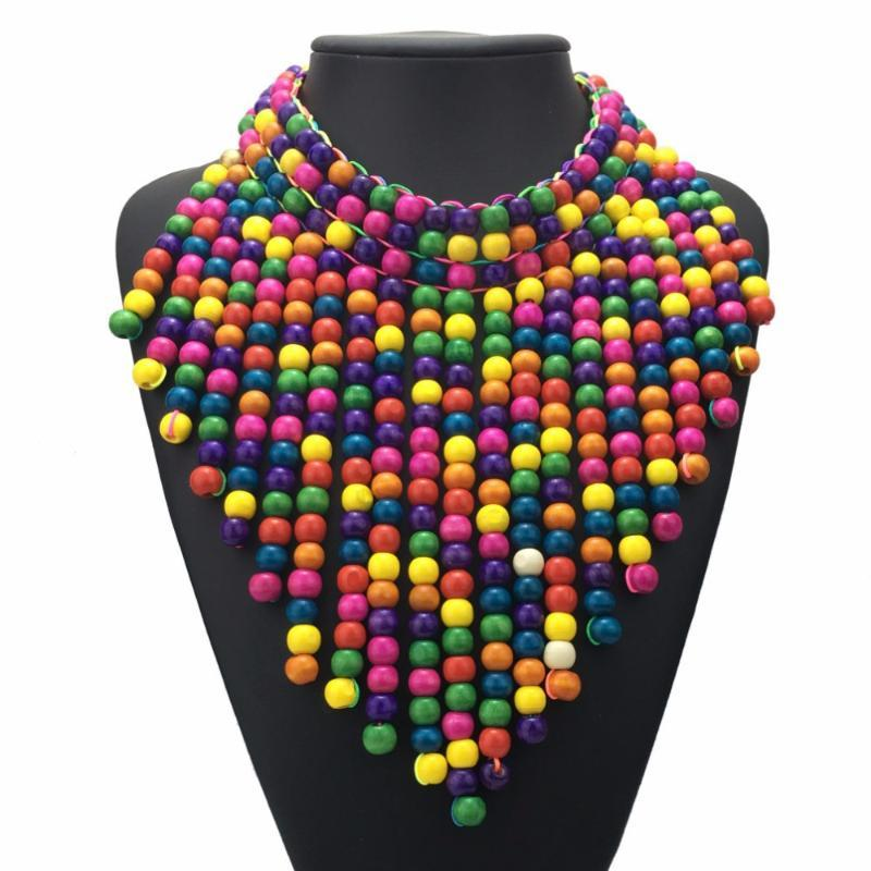 خشبية مطرز القلائد بيان للمجوهرات النساء البوهيمي متعدد الألوان الخرز طويل مريلة قلادة المختنق قلادة اليدوية