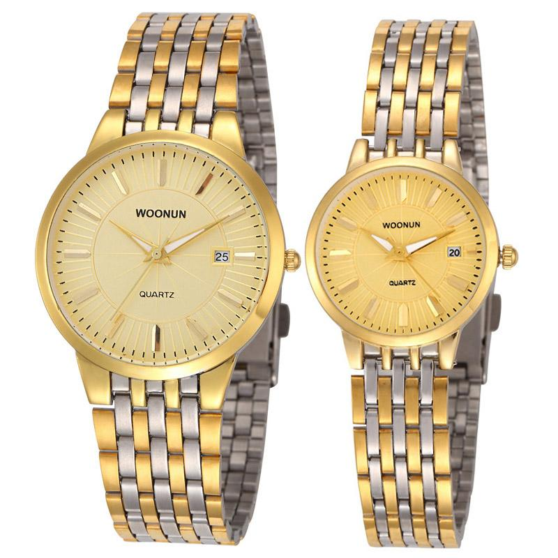 Fashion Couple Watches Valentine Gift Lovers Watches WOONUN Luxury Women Men Full Steel Quartz Ultra Thin