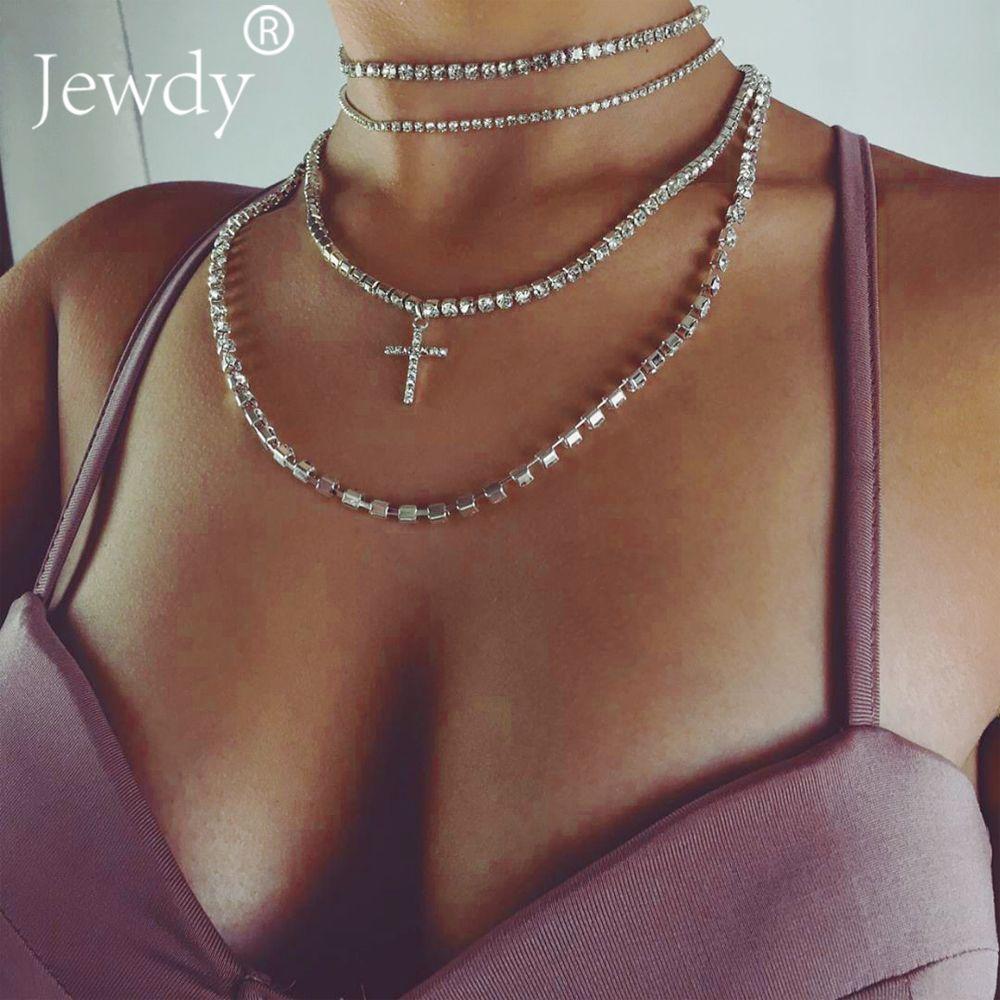 Luxus Strass Kreuz Choker Kristall Halskette 2019 Mehrschichtige Hochzeit Halsreifen Collier Modeschmuck Sexy Körper J