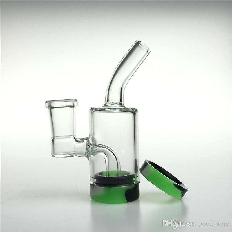 Tubi di acqua di vetro di vetro del fondo del fondo del silicone da 4 pollici con il narghilè 14mm femmina spessa tessuta inebriante del becher Bong 10 ml Recuperatore del contenitore per Somking