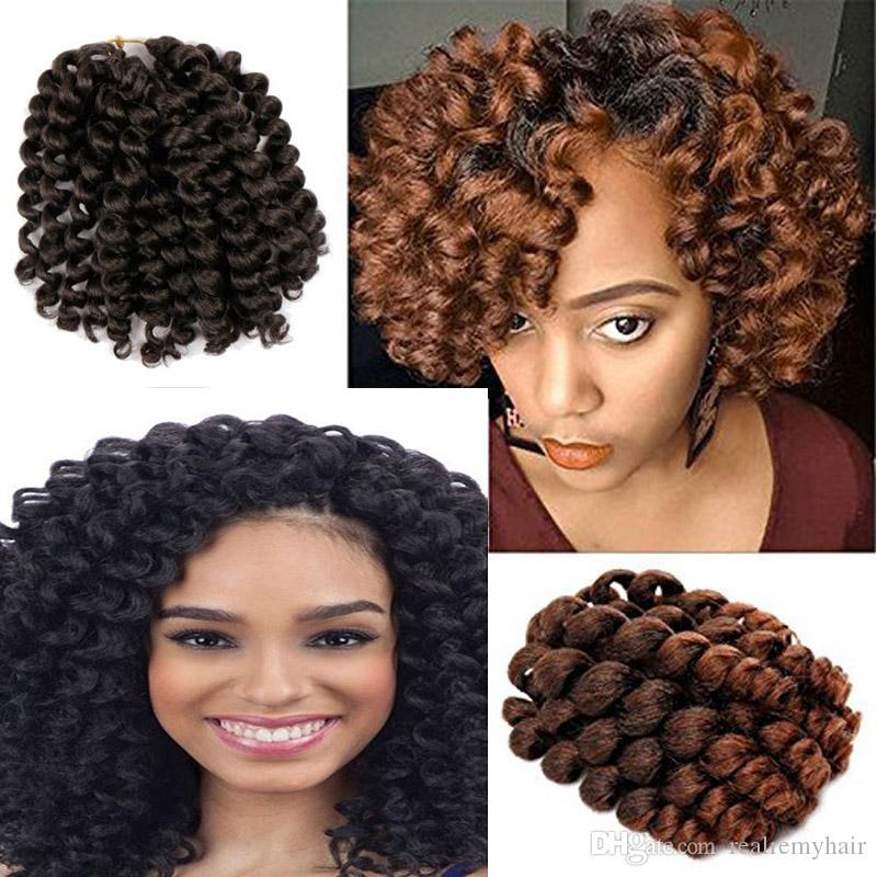 5 Packs 8 Inch Wand Curl Crochet Braids Synthetic Hair Jamaican Bounce Curls Crochet Hair African Curly Twist Braiding Hair for Black Women
