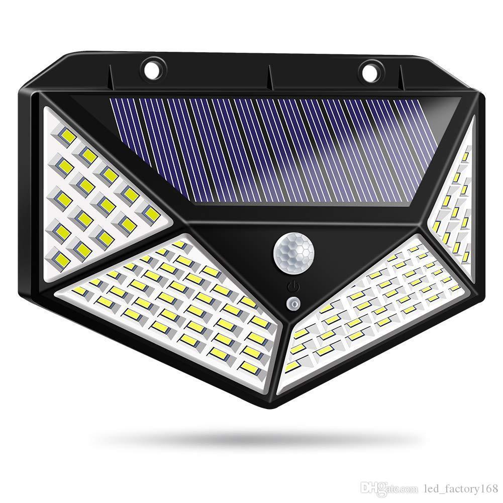 Extérieur Lampes solaires 100 LED extérieur du capteur de mouvements Powered lumières mur étanche lumière Veilleuse avec 3 modes avec 270 ° large Angl