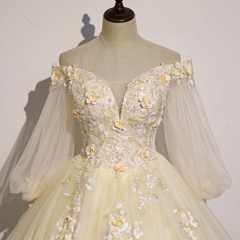 hellgelbe Blumenstickerei Ballkleid Königin Kleid mittelalterliches Kleid Renaissance Kleid königliche viktorianisches Kleid / Prinzessin Cosplay Kugel