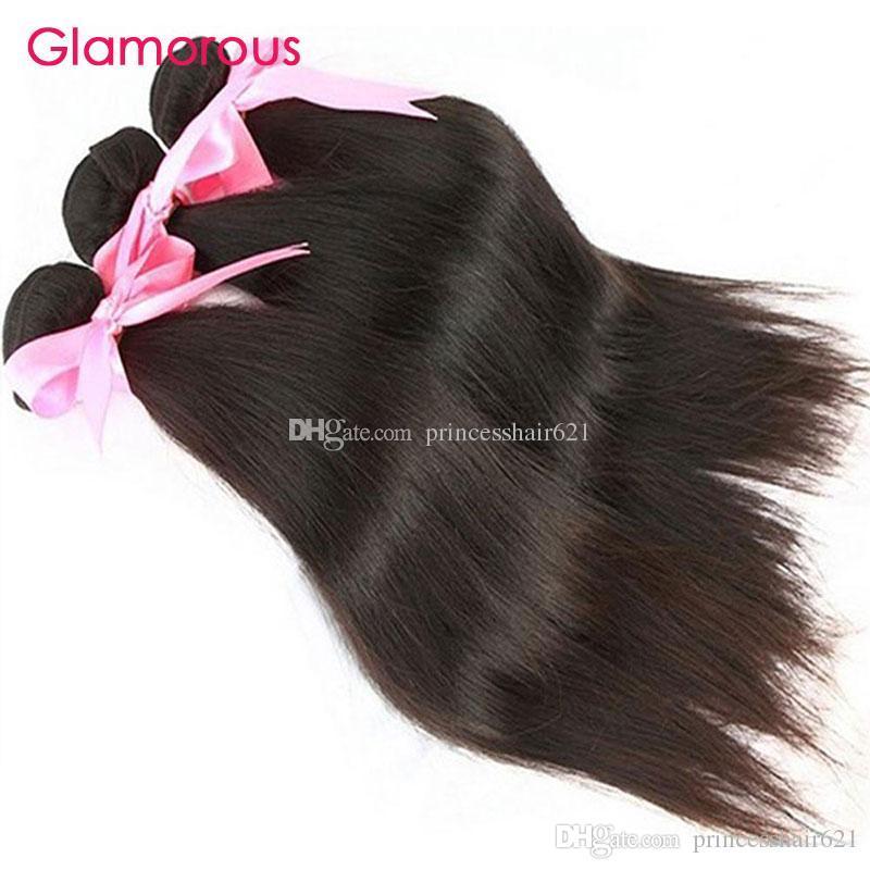 華やかな未処理の人間の髪ブラジルのストレートヘアウィーズ3バンドル100g最高品質マレーシアのインドのペルーの処女の髪の拡張