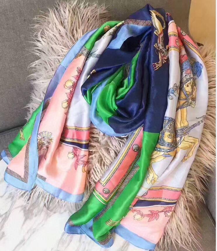 Mode gros Multicolor haut Marque femmes soie qualit écharpe d'été Designer Fleur longue écharpe Étiquette 180x90cm Châle Foulards en soie