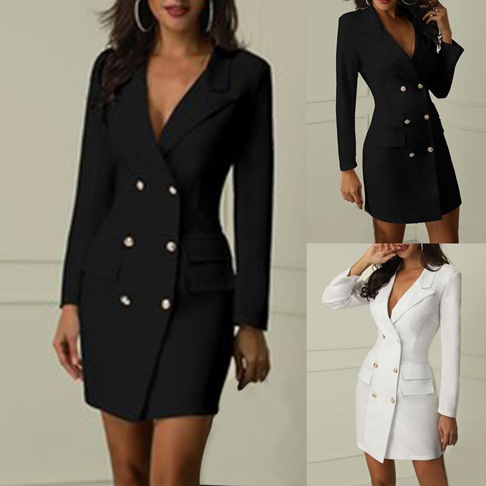 Сексуальное официально Управление пальто Женщины Весте Femme с длинным рукавом Длинные Тонкий Глубокий V куртка Casaco Feminino двубортный Jaqueta Feminina