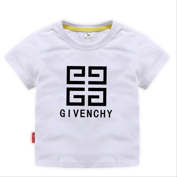 2020 Moda Çocuklar t Gömlek Çocuk Yaka Kısa kollu T gömlek Erkek Giyim Markaları Tops Katı Renk Tees Kızlar Klasik Pamuk T gömlek