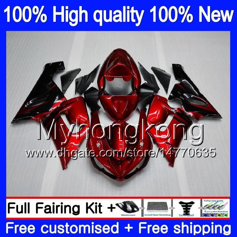 Cuerpo para Kawasaki ZX 6R ZX600 600cc 6R ZX636 2005 2006 210MY.3 ZX636 600 CC ZX6R 05 06 ZX600 ZX 636 ZX6R 05 06 Carenado Venta llamas rojas