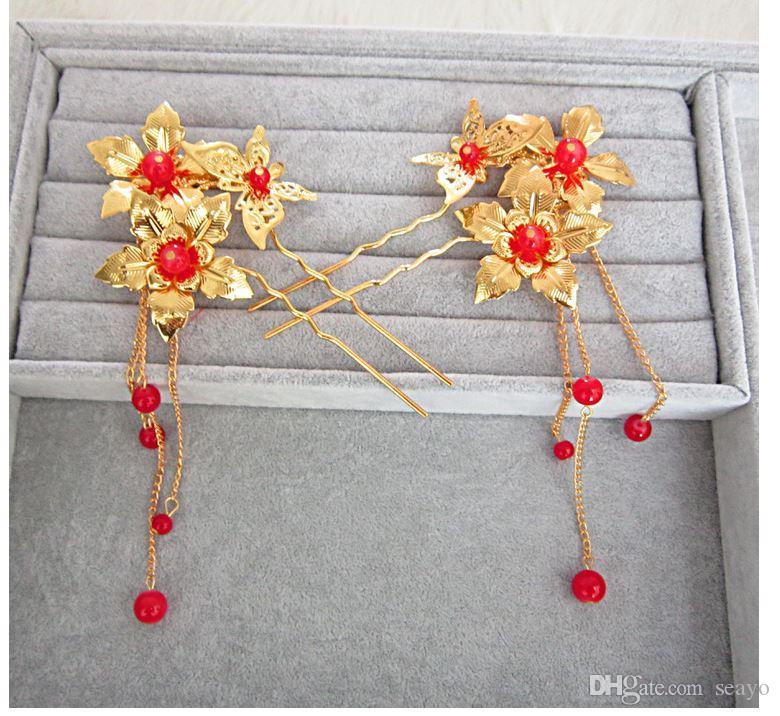 El tocado antiguo de la novia, las horquillas, los accesorios del vestido cheongsam, el vestido de la uva, accesorios al por mayor, promociones de bajo costo de fábrica