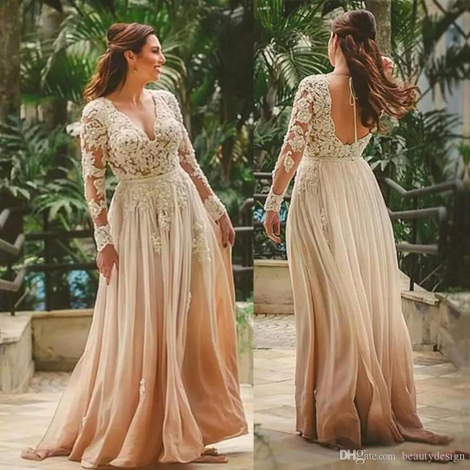 Eleganter Champagner V-Ausschnitt Boho Mutterkleider a-line Bodenlangen Brautkleid Indische Stil Backless Lace Mutter von Bräfer Kleider BC1715