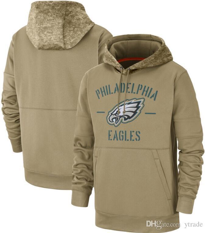 Nueva camiseta de Filadelfia Tan águila sudaderas con capucha 2020 Hombres Mujeres Jóvenes Salute a la línea lateral de Servicio Therma Rendimiento Pullover sudaderas