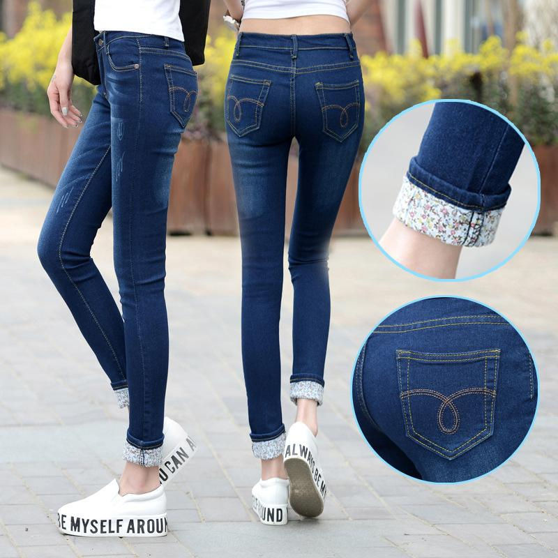 Plus Size 25-36 Jeans Donna Due polsini indossati Jeans Donna a vita alta coreani pantaloni casual pantaloni a matita