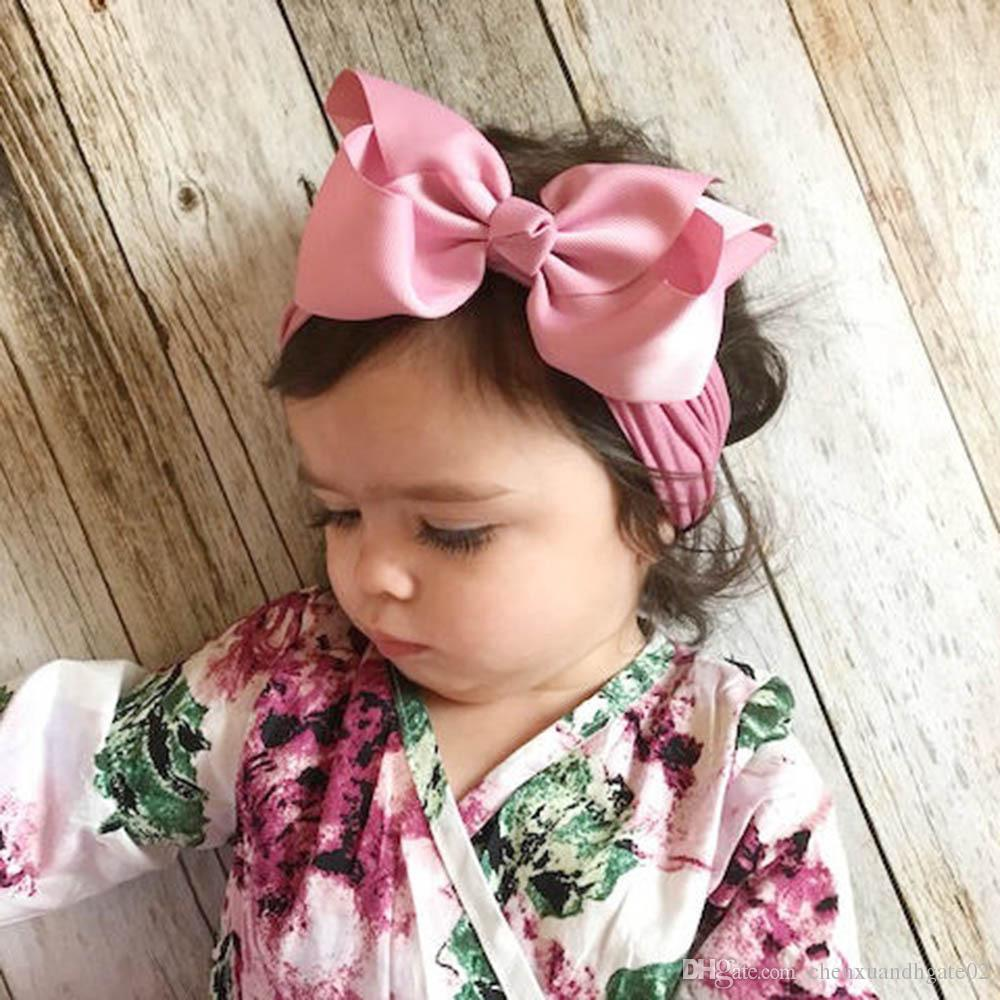 3Pcs Baby Girls Kids Toddler Bow Knot Hair Band Headband Stretch Turban Headwrap