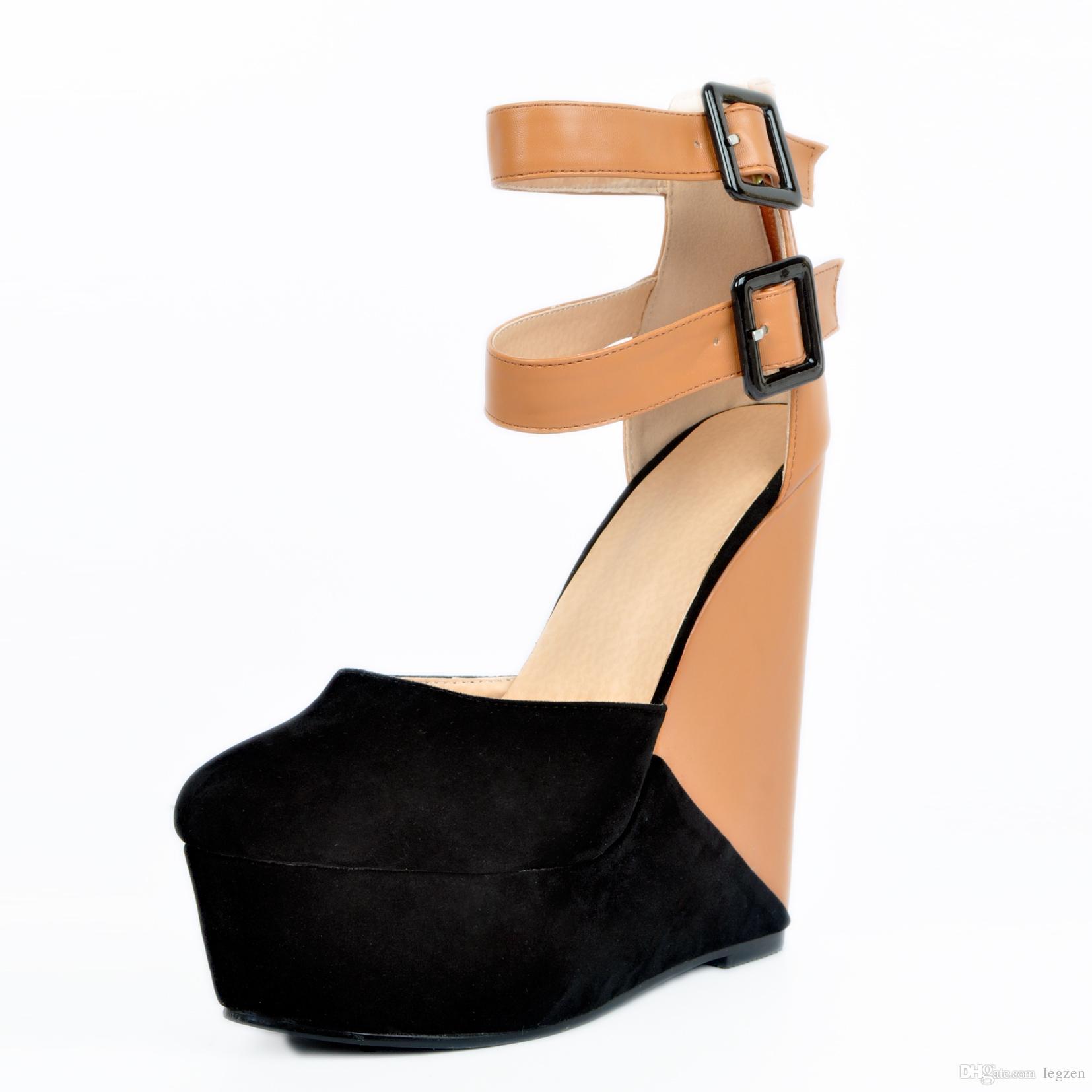 Legzen Verano Mujer Sandalias Cuñas Plataforma de la cremallera del dedo del pie abierto correas del tobillo Tacones altos Sandalias Club Party Zapatos ocasionales de las mujeres Tamaño grande 4-15