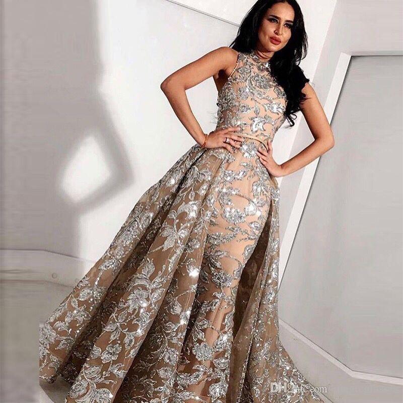 Lungo Champagne paillettes abito Mermaid alto collo arabo Prom 2019 caftano abito Dubai sera con il treno staccabile
