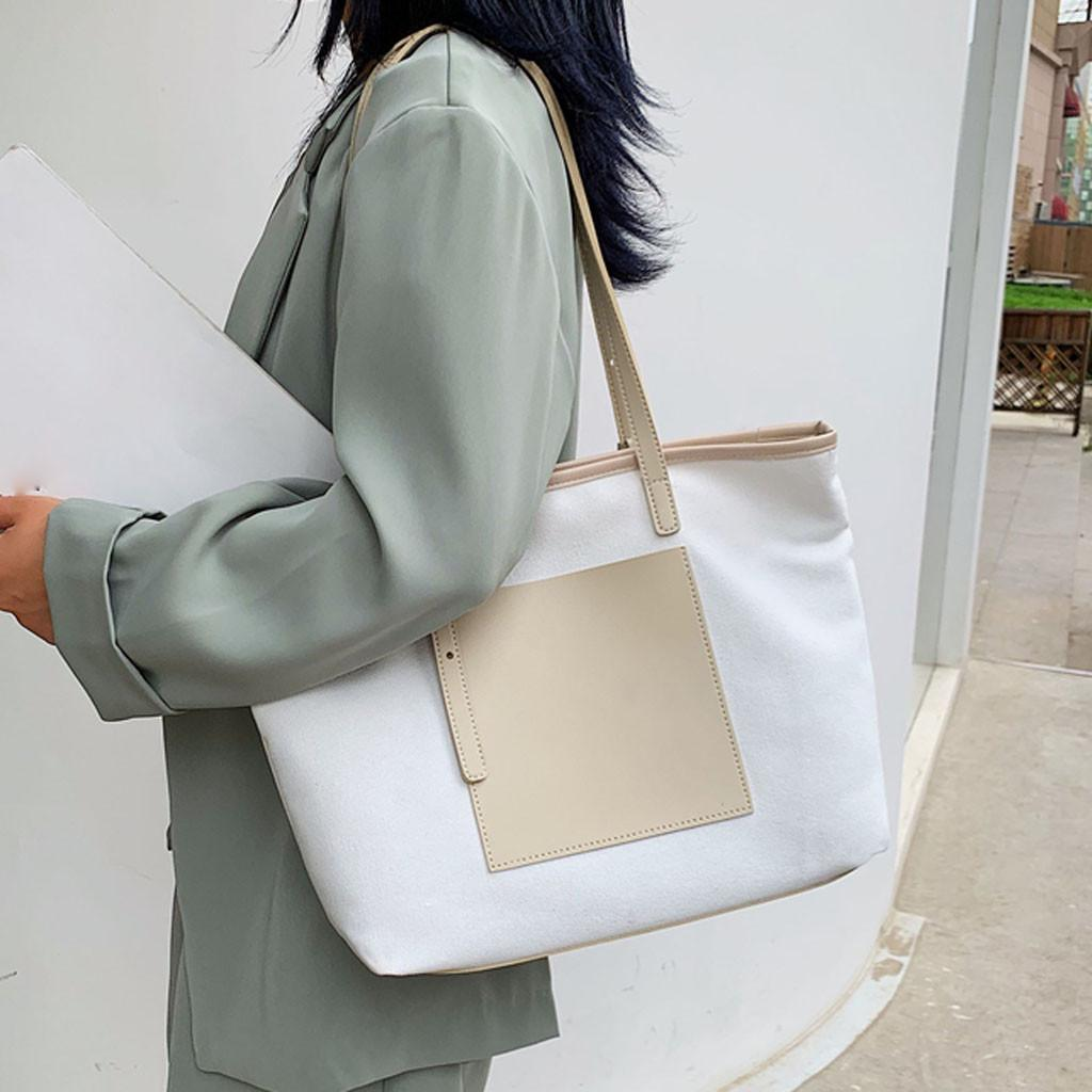 Womens Canvas Bag Hobo Bag White Elephant Large Tote Messenger Shoulder Purse with Zipper Casual Work Travel Bags
