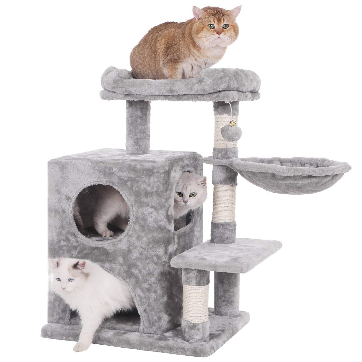 2021 Jarl Home 31 89 Modern Cat Tree Condo With Sisal Scratching Posts Light Grey Cat Tower With Plush Perch Cats Furniture Play House From Jarlhome 57 28 Dhgate Com