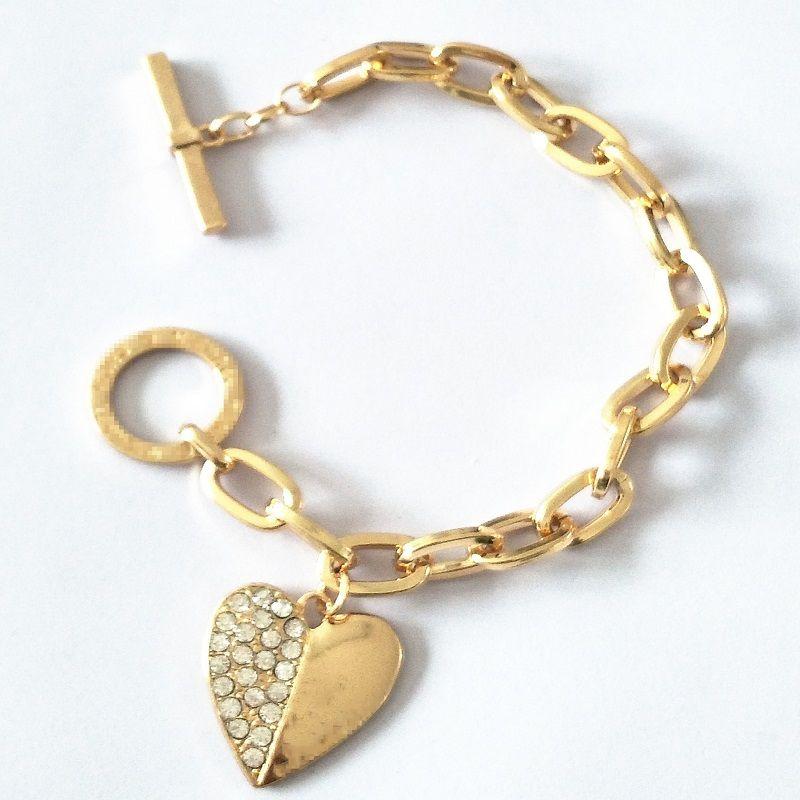 Marke Chain Link Armbänder Herzform Designer-Charme-Anhänger-Armband Gold Silber Rose Gold-Armband-Armbänder Schmuck für Frauen