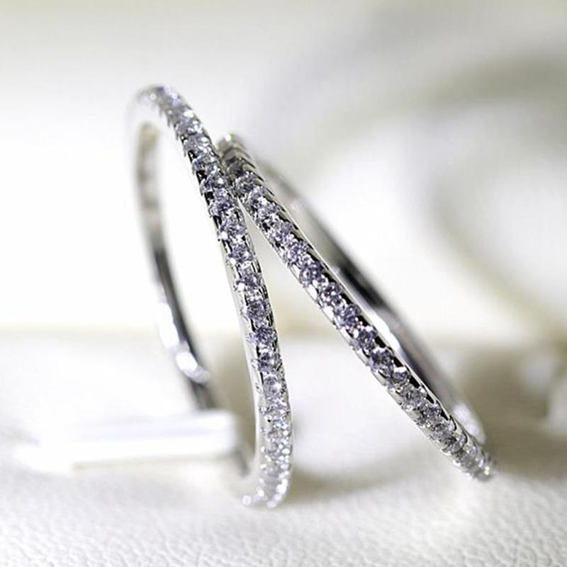 One Piece Sale 100% Original 925 Sterling Silver Slender Ring Full CZ Zircon Rings For Women Engagement Fashion Jewelry Gift Accessori XR094
