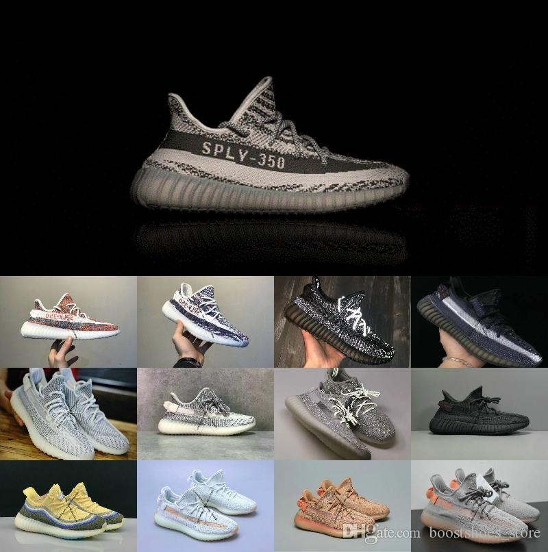 Kanye West designer shoes Sply Running shoes v2 Butter Semi Frozen Yellow Blue Tint Beluga 2.0 Zebra Cream White 3M Men Women Shoes 36-45