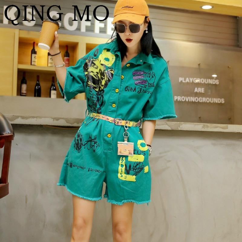 QING MO Women Red Cartoon Printing Playsuits Women Green Belt Playsuits Turn-up Collar Short Sleeve ZQY117