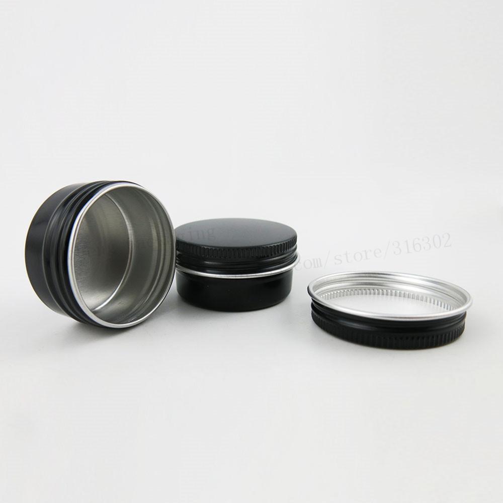 100 x 15g 20g Svuotare Mini Nero Alluminio vaso crema Pot Nail Art Makeup Lip Gloss cosmetica vuota del metallo barattoli