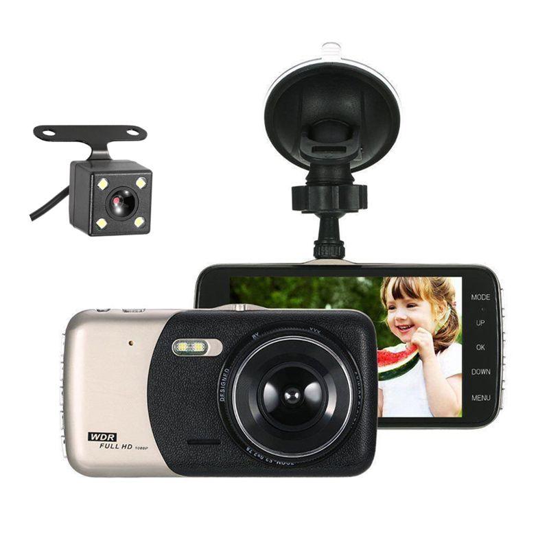 كامل 1080p HD DVR سيارة 2CH dashcam القيادة الرقمية كاميرا فيديو مركبة تتحرك مسجل بيانات 3.7 بوصة 140 درجة للرؤية الليلية G- الاستشعار