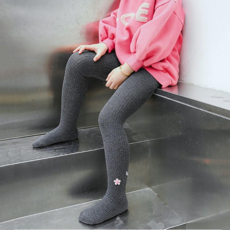 Autumn Winter Children Cotton Wool Pantyhose Baby Girls Solid Color Warm Flower Anti Pilling Coralline Underpants New