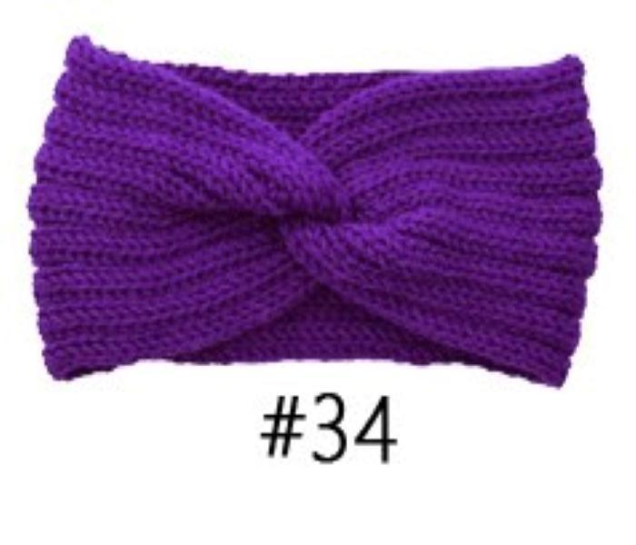profonde bande de cheveux couleur à tricoter violet accessoires faits à la main serre-tête de fil de laine pour l'automne chaud et des bandes de cheveux d'hiver