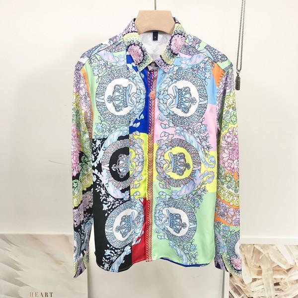 Новейший 2020 моды волна мужчин клетчатую рубашку печати Цвет Смесь Роскошное Повседневный Harajuku короткий рукав Мужские рубашки Medusa SQ