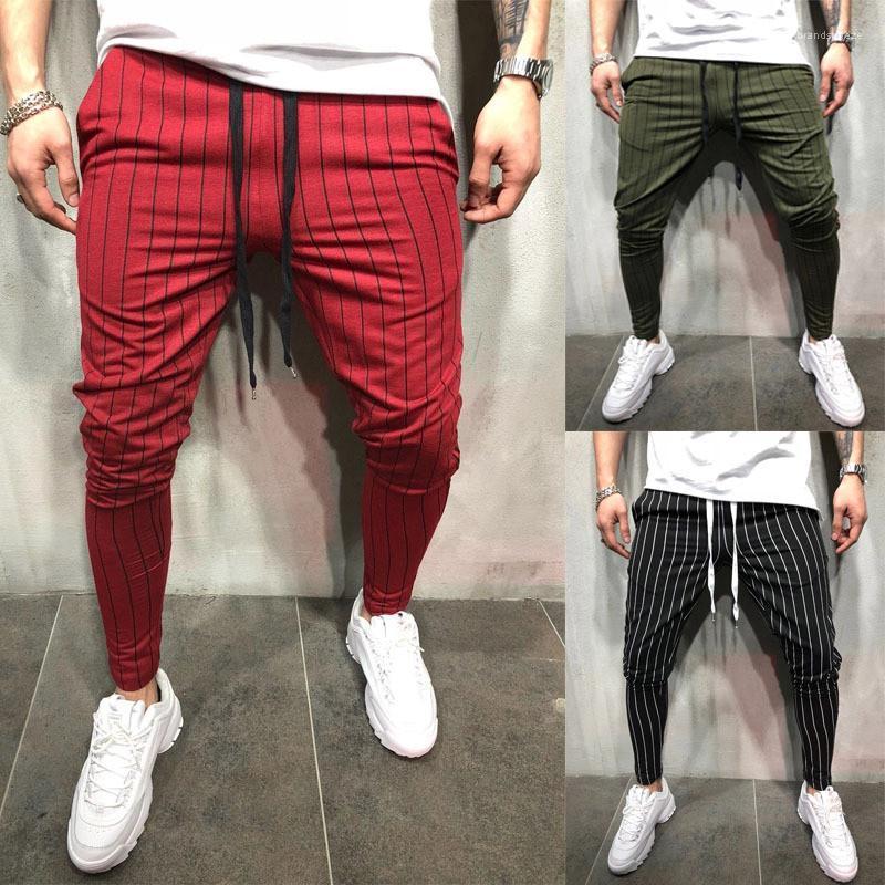 Designer Sport Pants Fashion Slim Drawstring Mens Jogging Pants Casual Designer Males Clothing Stripe Print Mens
