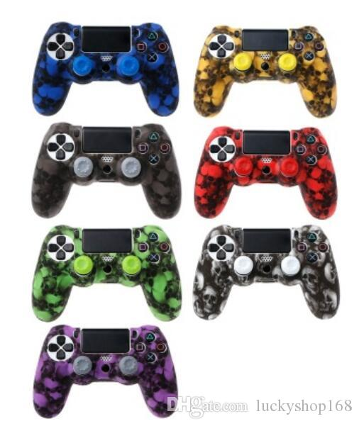 PS4 Accessories Skull Silicone Gel Guards sleeve Skin Grips Cover Case Caps For Playstation 4 PS4 Pro Slim 100pcs DHL
