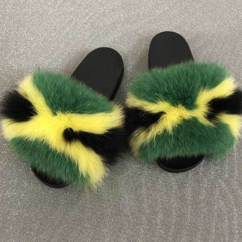 Kürk Terlik Gerçek Kürk Slaytlar Terlik Lady Doğal rakun Terlikler Kabarık Sandalet Peluş Ayakkabı Şaşırtıcı Mevcut