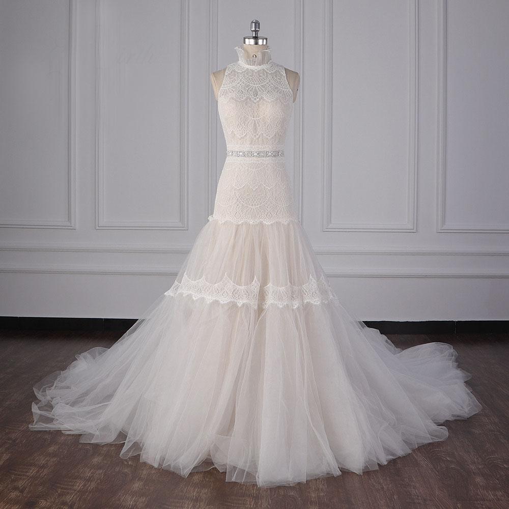 Outstanding High Collar Drop Waist Modern Wedding Dresses Beaded Waist Bohemian Wedding Dress Appliques Wedding Gowns vestidos de noche