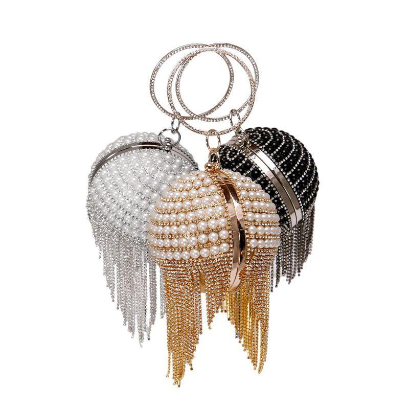 Beaded Women Wedding Clutches With Circular Tassel Diamonds Evening Bags Chain Shoulder Pearl Handbags Purse