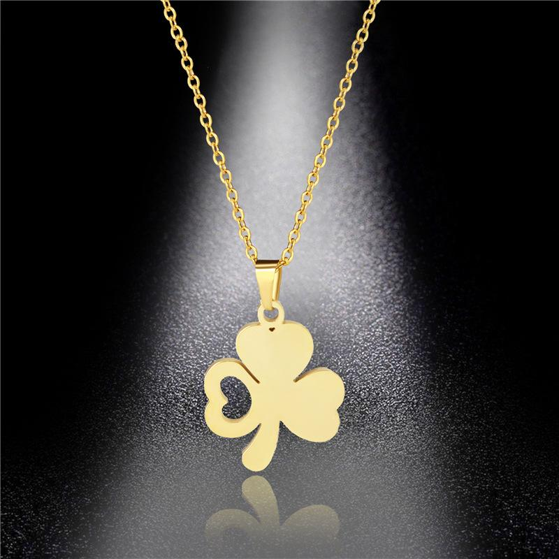 Simple Titanium Steel Four-leaf Clover Necklace Female Jewelry 316L Stainless Steel Clover Pendant Does Not Fade