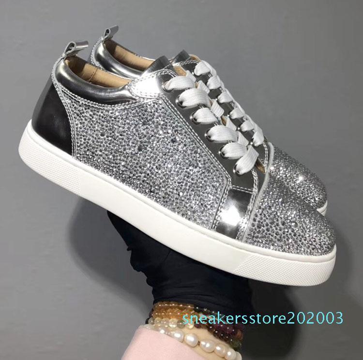 le scarpe di lusso del progettista Uomini Donne Studded Spikes piattaforma scarpe da ginnastica annata genuina casuale in pelle rivetto Sneaker S03