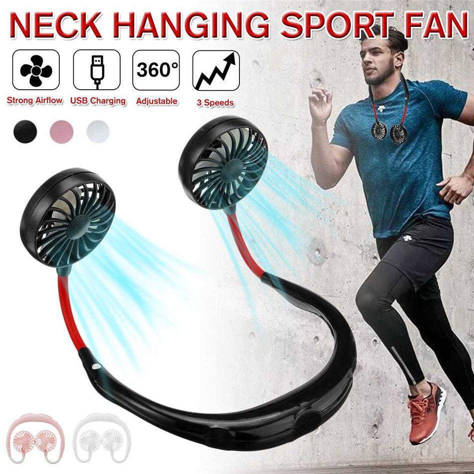 LED d'extérieur cou bande Fan personnelle portable Mini Double Wind Head Neckband ventilateur USB rechargeable Air Cooler Sport