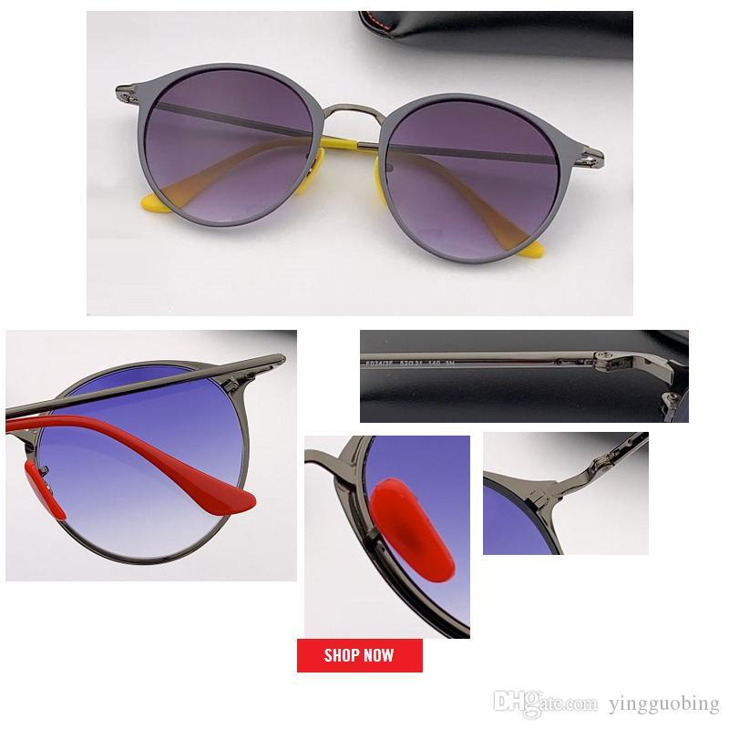 2019 جديد حار بيع جولة جودة الإطار المعدني سبيكة الرجال أعلى ماركة تصميم دائرة الذكور uv حماية معكوسة نظارات الشمس القيادة
