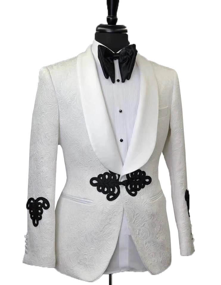 Terno 3 Suits Pezzi Uomini per sposa 2020 Abiti su ordine Classic Blazer bianco Affari Prom Groomsmen Groom Mens smoking Coat Pantaloni