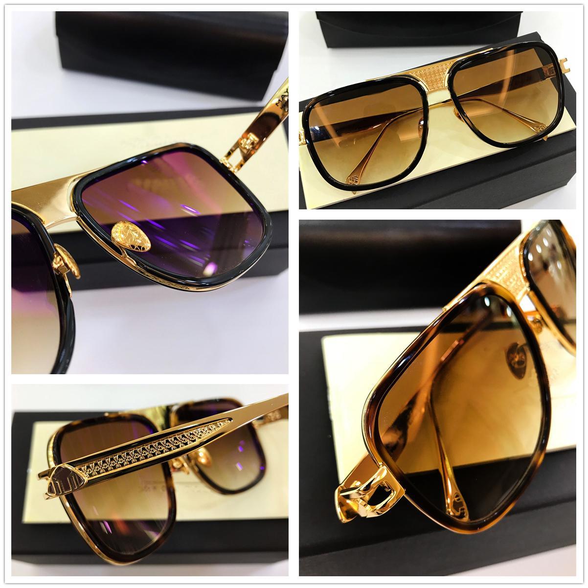 Vintage Mens Designer óculos de sol de luxo Designer óculos de sol do metal do ouro Quadro quadrado Lazer Moda Luxo Designer Homens Sunglases PREM