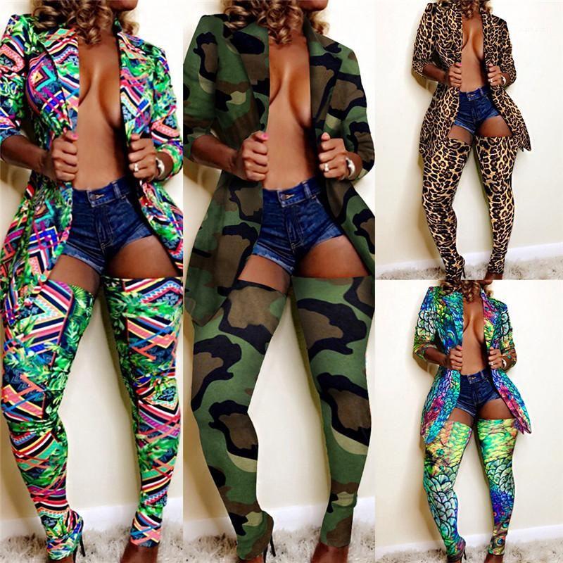 Deux pièces Ensembles Mode Femme Club de costumes sexy Leopard 2PCS femmes Ensembles Lapel manches longues Veste longue Collant