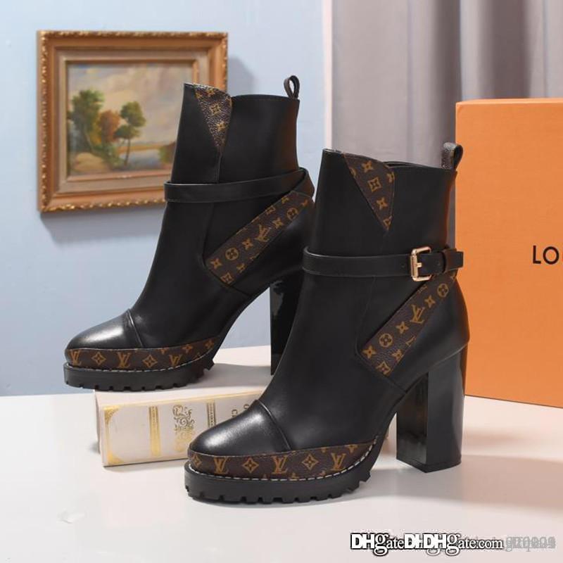 Yeni Kadın YILDIZ TRAIL AYAK BİLEĞİ BOOT Lüks Tasarımcı Boots 1A5BH9 Kadın Bilek Boots Martin Boots Moda Günlük En Kalite Boyut 35