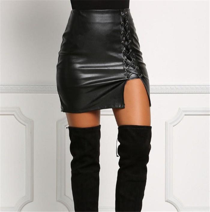 المرأة مثير مصغرة تنورة فو بو الجلود سيدة الصلبة الأسود سبليت تنورة الصيف ارتفاع الخصر عارضة حزب اللباس الهيب التنورة