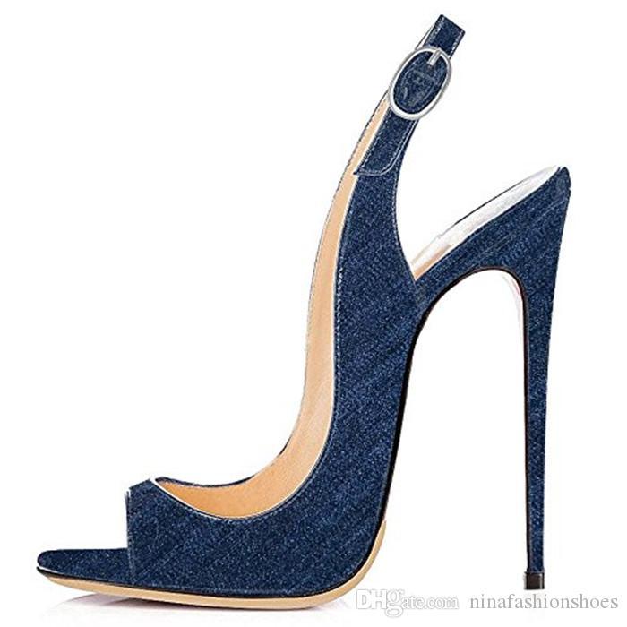 Sexy Peep Toe Blue Denim Frauen Sandalen 12 CM Dünne Hohe Knöchel Schnalle Sandalen Dame Schuhe Büro Party Datum Sandalen Sommer