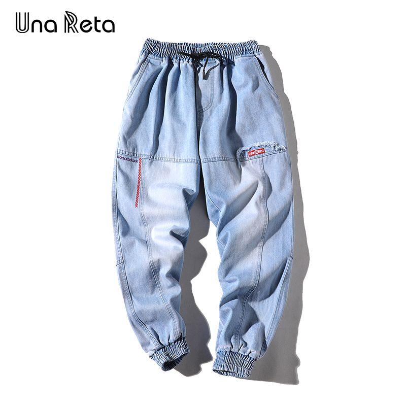 Una calças de brim dos homens 2019 novo hip hop calças dos homens calças de brim rua estilo elástico na cintura lavada streetwear dos homens jeans c19041601