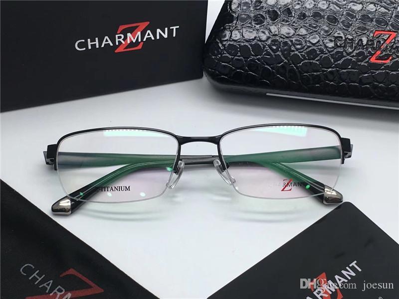 Yeni moda Marka-tasarımcı charment 19813 Titanyum gözlük yarım çerçeve reçete gözlük retro optik gözlük erkekler gözlük